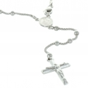 Rhodium silver rosary with Our Lady of Grace centerpiece