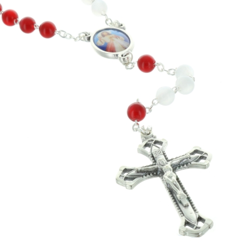 Merciful Jesus Glass rosary with box