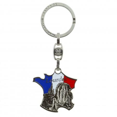 Porte-clés carte de France et Apparition de Lourdes