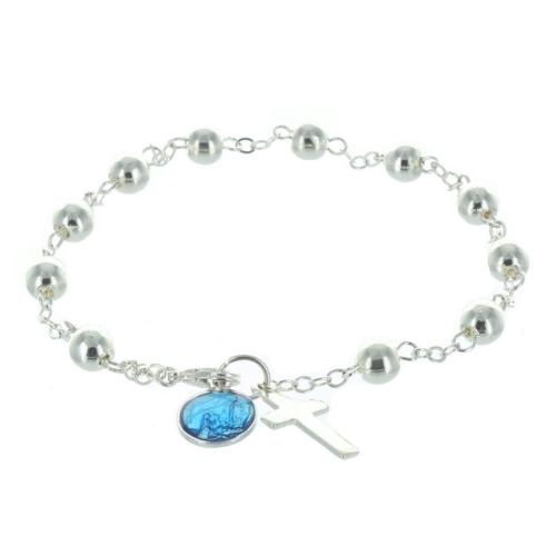 Silver rosary bracelet with a cross and a blue enamelled medallion of Our Lady