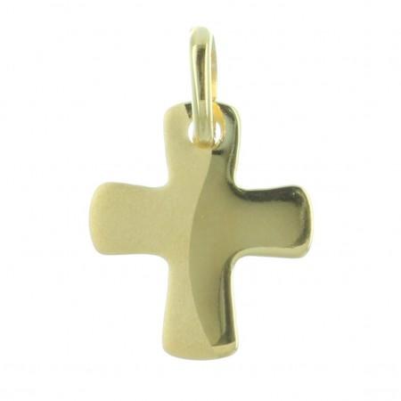 Pendentif croix Plaqué Or arrondi et bi-matière