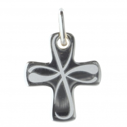 Silver curved cross pendant