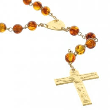 Chapelet de Lourdes en Plaqué Or et grains en Ambre