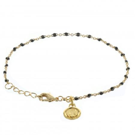 Bracelet Plaqué Or perle en émail noir et médaille de Lourdes