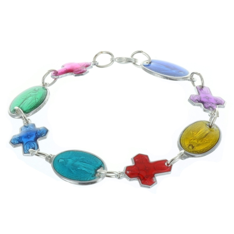 Bracelet religieux, médailles Miraculeuse et croix émaillées colorées