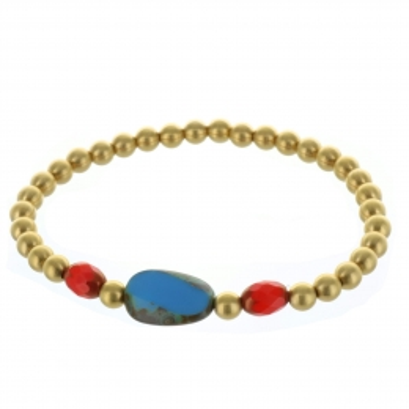 Bracelet fantaisie, perles dorées et pierres véritables