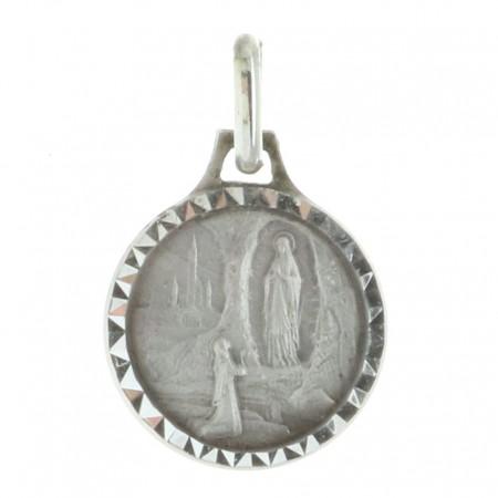 Médaille de Lourdes en Argent aux contours diamantés