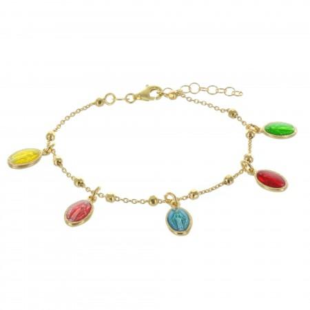 Bracelet de la Vierge Miraculeuse en Argent doré avec des médailles colorées