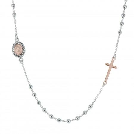 Collier chapelet médaille de la Vierge Miraculeuse en Argent massif