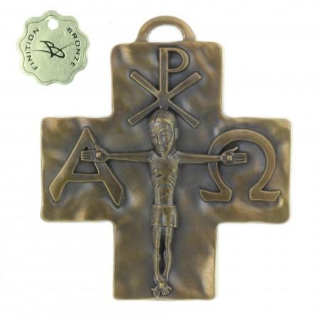 Croix Alpha Omega en Bronze 8 cm
