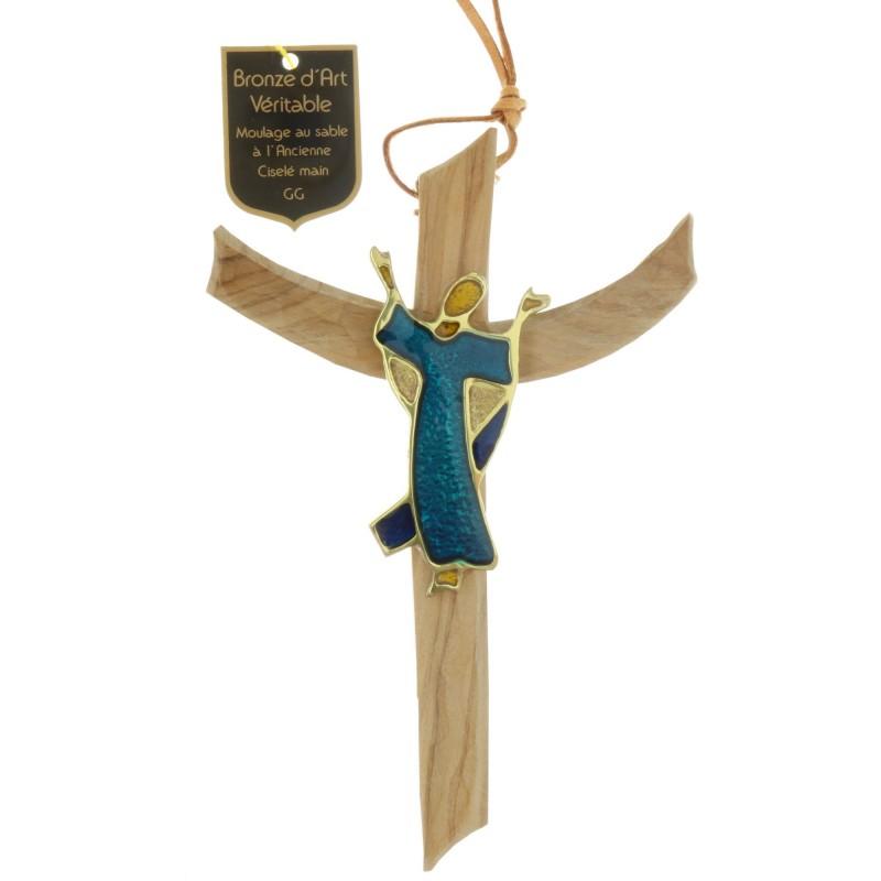Crucifix Christ glorieux en Bronze et bois d'olivier 16 cm