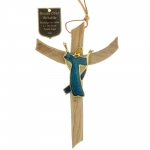Glorious Christ crucifix Bronze and olive wood 16 cm