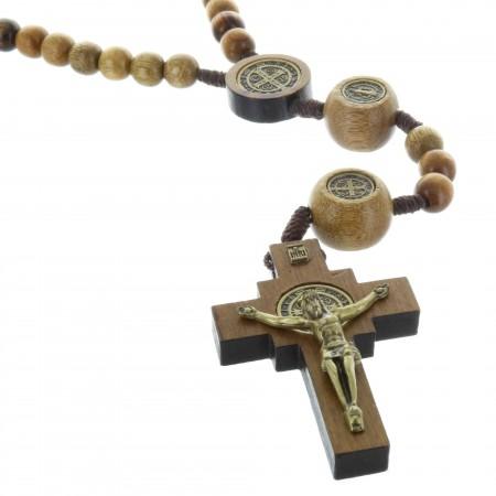 Chapelet de Saint Benoit en corde, grains en bois