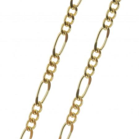 Chaîne en métal doré et maille alternée 50cm