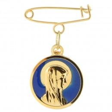 Broche double face Vierge Marie et Appartition de Lourdes en métal doré