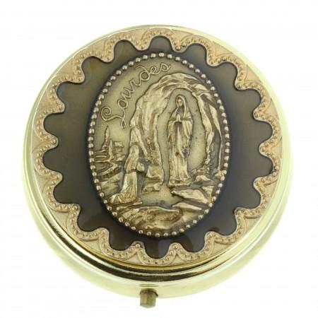Custode à Hosties Apparition de Lourdes dorée 5,5 x 5,5cm