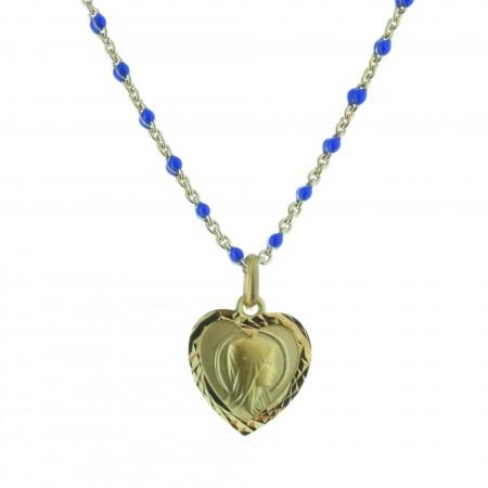 Collier avec une médaille de la Vierge Marie en Plaqué Or, perles en émail bleu