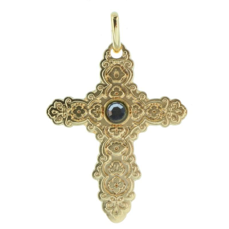 Croix Plaquée Or style barroque avec un strass noir