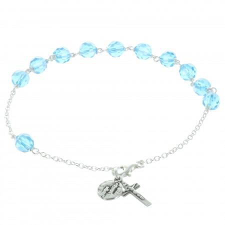 Bracelet dizainier de Lourdes en Argent et perles en cristal