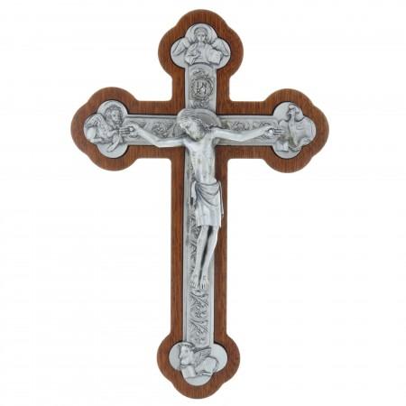 Crucifix bois acajou trilobé et les 4 Évangélistes argentés 25 cm