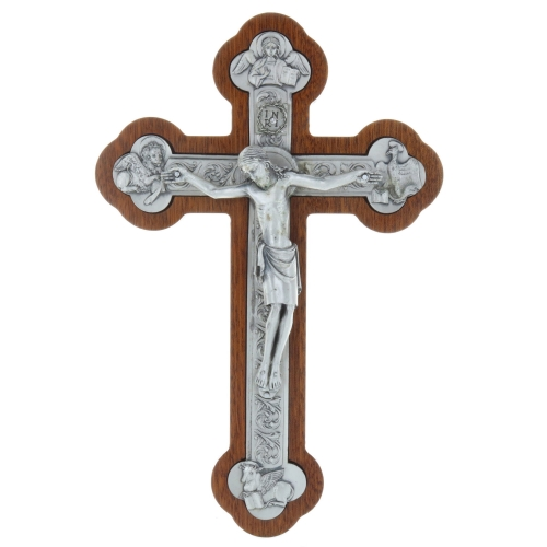 Trilobed mahogany crucifix and the 4 Evangelists silver plated 25 cm