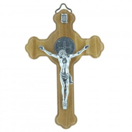 Crucifix de Saint Benoît en bois d'olivier 10cm
