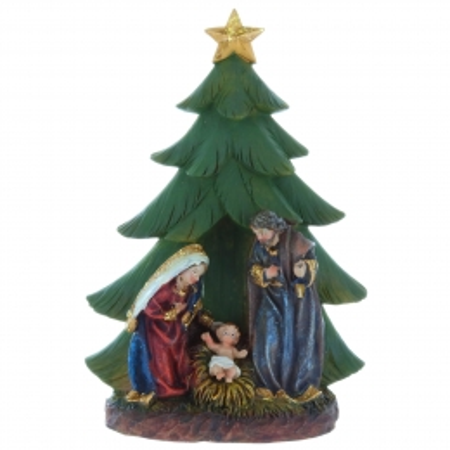 Crèche de Noël avec un sapin en résine 15cm