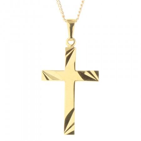 Parure pendentif croix Plaqué Or 18 carats et chaîne dorée 50cm