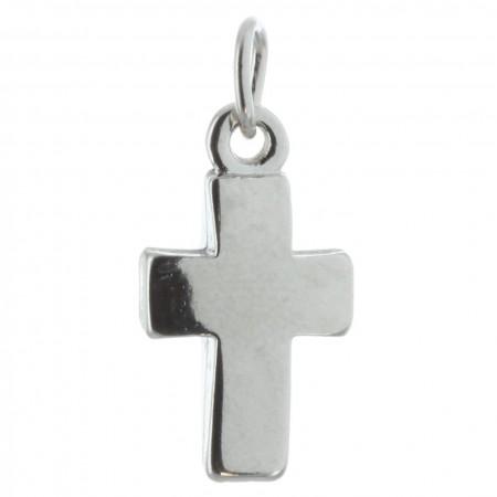 Pendentif croix en métal argenté