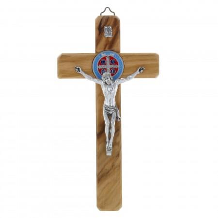 Crucifix de Saint Benoît en bois d'olivier et médaille colorée