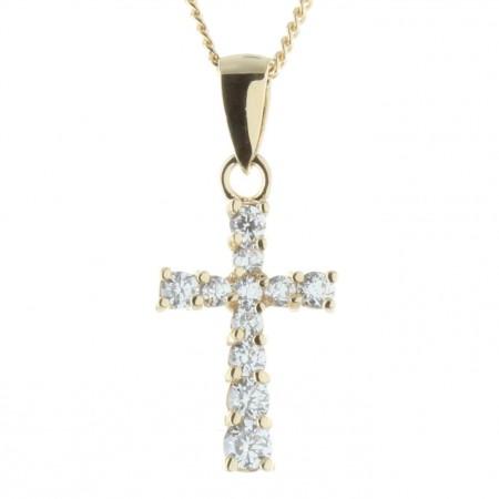Parure pendentif croix Plaqué Or 18 carats avec zircon sur chaîne dorée 45cm