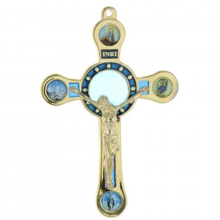 Crucifix de Lourdes en métal doré avec 4 vues 12cm