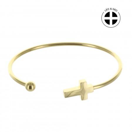Bracelet jonc religieux Léo&Geo en acier doré