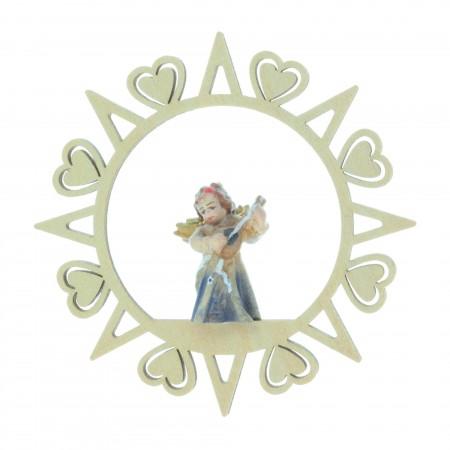Etoile de Sapin de Noël en bois avec un Ange 8,5 x 8,5cm