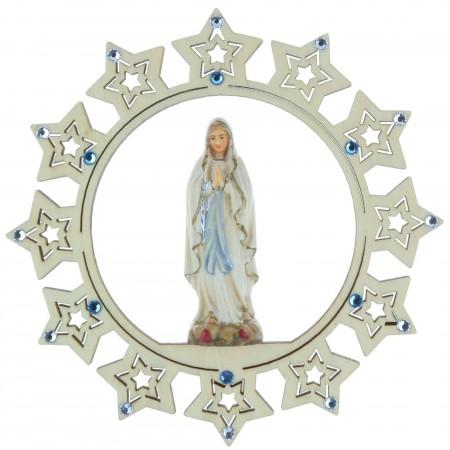 Etoile de Sapin de Noël en bois de la Vierge Marie avec strass 15 x 15cm