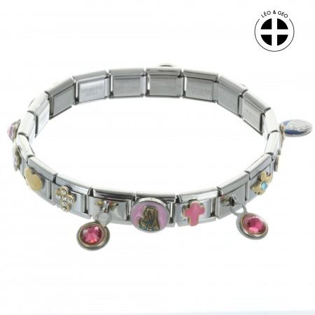 Bracelet fantaisie Léo&Geo avec des pendentifs religieux