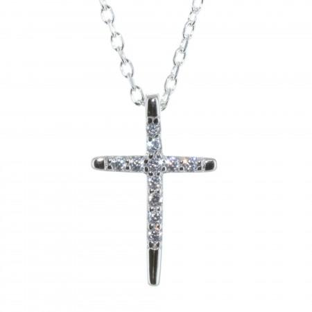 Parure en Argent, pendentif croix à strass sur chaîne de 50cm