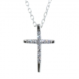 Silver Set, cross pendant with rhinestones on a 50cm chain