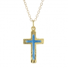 Golden set, bluish cross pendant on a 50cm chain