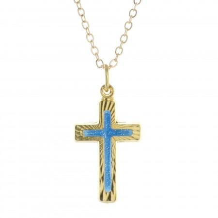 Parure dorée, pendentif croix bleuté sur chaîne de 50cm