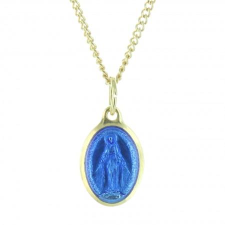 Parure dorée médaille de la Vierge Miraculeuse bleutée et chaîne de 50cm