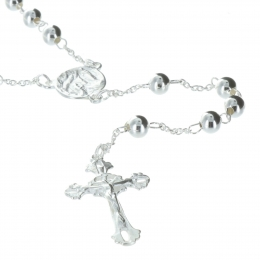 Lourdes Silver rosary, 5mm beads