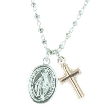 Collier de la Vierge Miraculeuse et pendentif croix en Argent