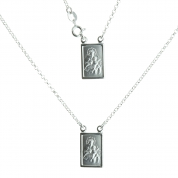 Scapular medals on a silver necklace