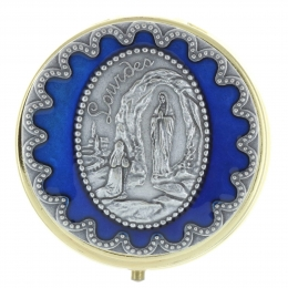 Blue pyx Lourdes Apparition 5.5 x 5.5cm