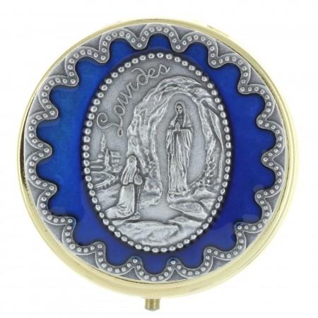 Blue pyx Lourdes Apparition  5.5 x 5.5cm