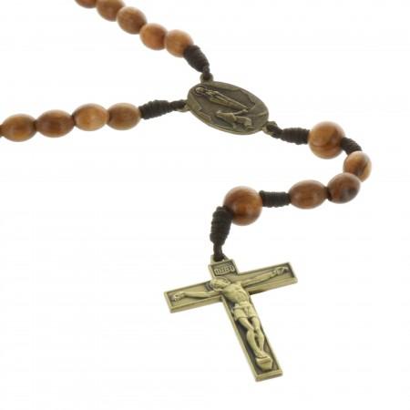 Chapelet de Lourdes en corde et bois d'Olivier véritable