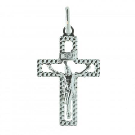 Pendentif croix en Argent contour diamanté