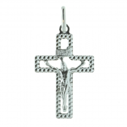 Silver cross pendant faceted