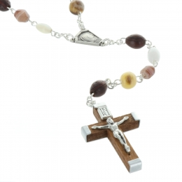 Lourdes Silver rosary with mineral glass beads